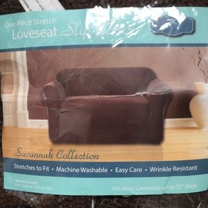 Stretch slip loveseat cover